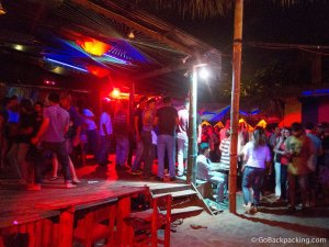 A weeknight at the Cana Grill beach bar in Montanita